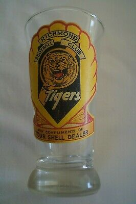 Richmond Tigers VFL Football Vintage Shell Team Mascot Logo Decal on Beer Glass