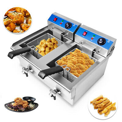 Large Commercial Fryer Electric Twin Basket 6000W Double Tank Fish Chips UK