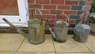 Vintage Lot Of 3 Old Metal Galvanized Watering Cans - Garden Planters