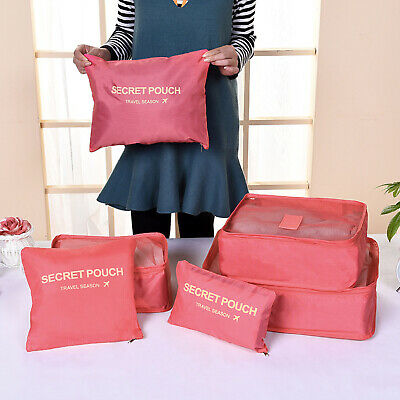 Pink Travel Essentials - 6 Pcs Packing Cubes Storage Bags For Clothes Suitcase