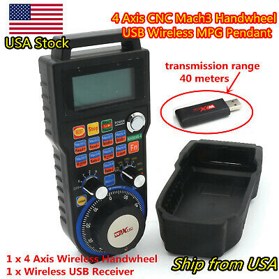 ┃AT USA┃ 4 Axis Mach3 Wireless Remote Handwheel Pendant MPG for CNC Engraving