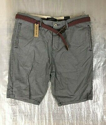 "Bnwt Men's "" River Island "" Grey Check Shorts With Belt - Uk 34 ! Rrp £30 !"