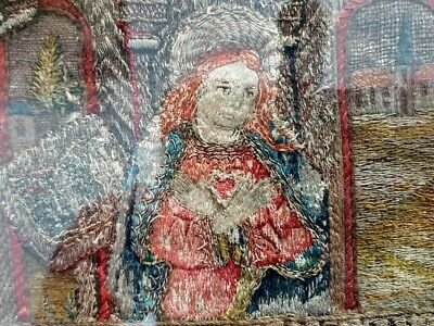 Rare 16th Century Antique Embroidery Panel Depicting the Annunciation, C.1580