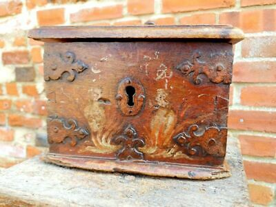17thC French Antique Alms Box with Original Polychromy Poor Box Offertory Box