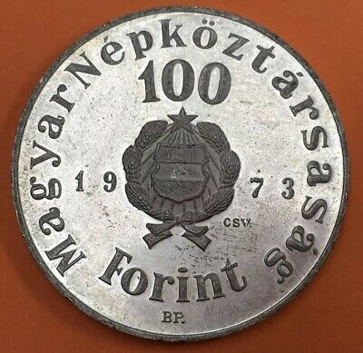 Hungary 1973 Silver 100 Forint Coin #JF#113