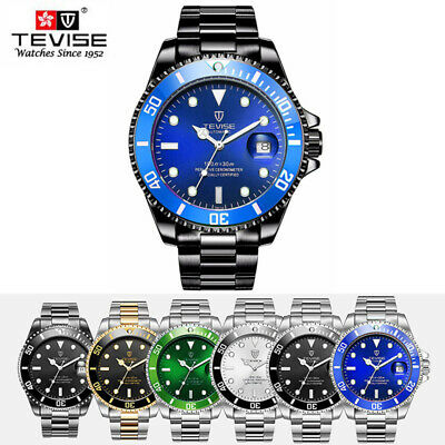 TEVISE T801A Stainless Steel Strap Business Watch Men Mechanical Wristwatch Date