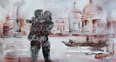 Two men boys silhouette original art painting male kissing gay couple cityscape