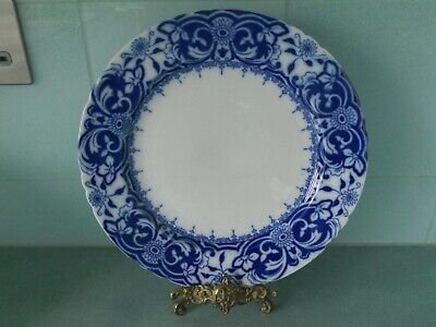 Antique 1900 Wedgwood & Co Cobalt Blue And White Flow Blue Plate - Irene
