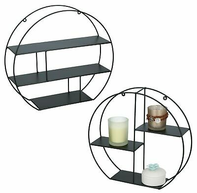 New Black Wire Metal 3 Tier Round Floating Wall Hanging Shelf Display Storage