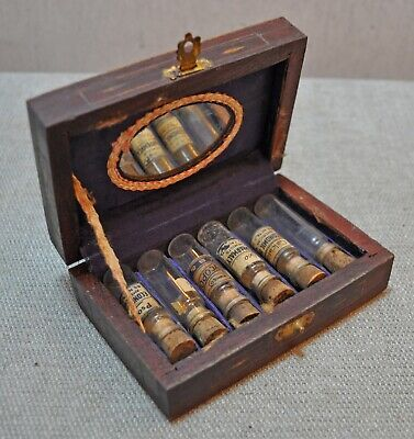 Original Old Antique Carved Brass Inlay Wooden Glass Homeo Medicine Bottle Box