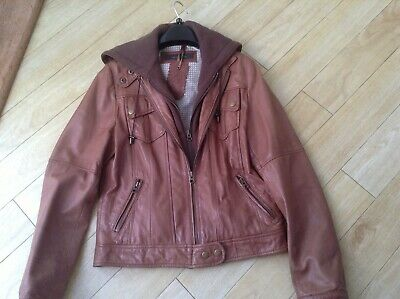 Next Ladies Tan Supple Leather Jacket With Insert Hoody Great Condition Size 10