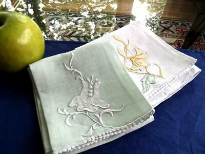 2 Vintage Madeira Linen Guest Towels White and Mint Green Lovely Applique Flower