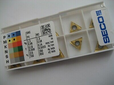 10 x TCGT110204R-UX (TCGT 21.51R-UX) CP500 SECO SOLID CARBIDE TURN INSERTS  #64