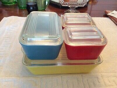 PYREX 8 pcs PRIMARY COLOR REFRIGERATOR BOX WITH LID