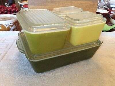 Pyrex 8 Pcs Green Verde  Refrigerator Box With Lid