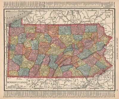 Pennsylvania state map showing counties. RAND MCNALLY 1912 old antique
