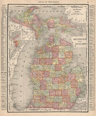 Michigan state map showing counties. RAND MCNALLY 1912 old antique chart