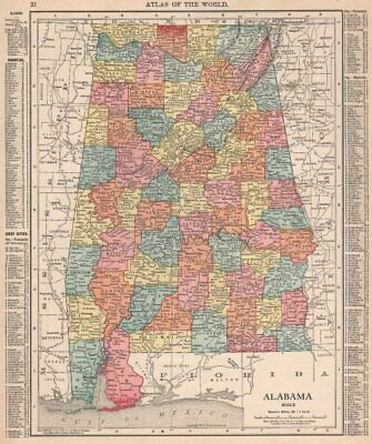 Alabama state map showing counties. RAND MCNALLY 1912 old antique chart
