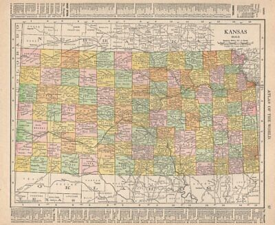 Kansas state map showing counties. RAND MCNALLY 1912 old antique chart