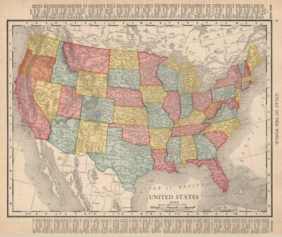 United States. USA. RAND MCNALLY 1912 old antique vintage map plan chart
