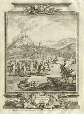 Prince Eugene raises ye Siege of Coni. Siege of Cuneo 1691, Italy 1736 print