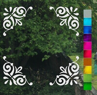 Set of 4 Corner Victorian Scroll Frost Etch or Stained Glass Effect Window Decal
