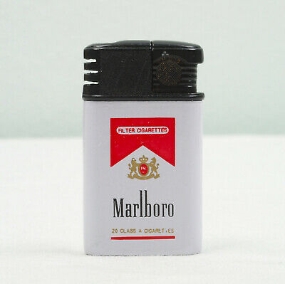 Marlboro Cigarettes Red Logo Vintage Gas Lighter Small Size Promotional Old