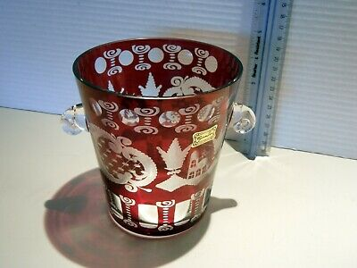 Etched Bohemian Red Ruby Glass Clear Handled Vase - Czech Republic Egermann