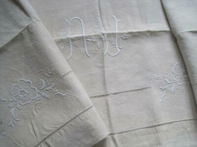 Unused French Pure Linen Sheet, Gorgeous Decoration. Bedding Fabric Or Curtain