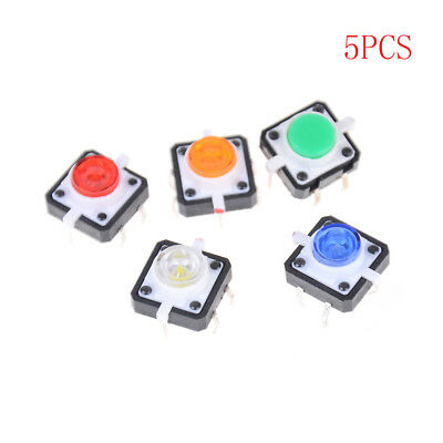 5PCS 12X12X7.3 Tactile Push Button Switch Momentary Tact LED IU