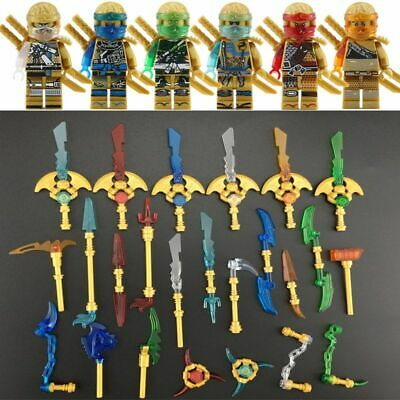 Lego 6pcs Ninjago Golden color Nya Lloyd Jay Zane Kai Minifigures Ninja Figure