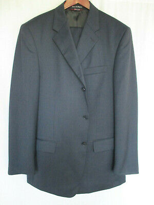 Hickey Freeman Blue Double Breasted Suit 40R 36x31 100% Wool Italy Nordstrom