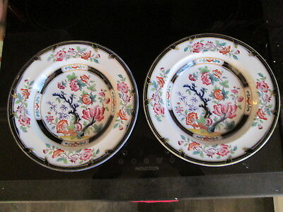 2 Stunning Antique Ironstone Soup Plates Indian Tree Pattern Handpainted