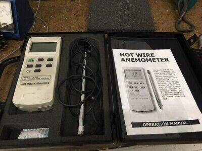 Omega Hot Wire Anemometer HHF42 w/ Probe, Instruction, Case