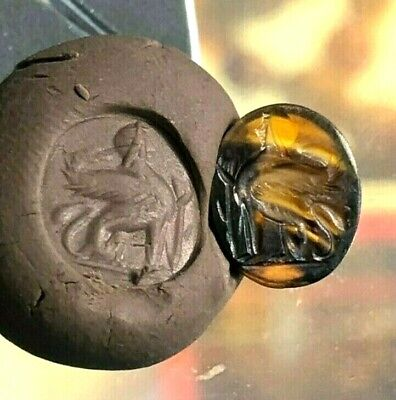 Bizarre! top Ancient Agate Sunset Tone Intaglio Pridly Sphinx Sitting Stamp bead
