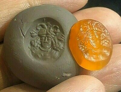 Bizarre! top Ancient Carnelian Medusa Snake Hair Signet Stamp bead For Ring