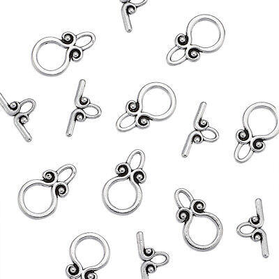 20pcs Tibetan Toggle Clasp Round Antique Silver Round Jewelry Finding Making