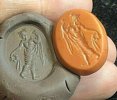 Ancient Jasper Orange Stone Intaglio Greek God holding Flower Laid Signet Stamp