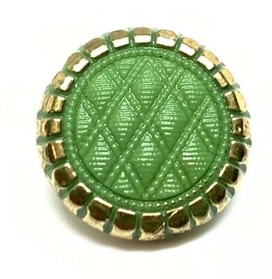 Antique Beautiful Green Glass Victorian Quilted Gold Incised Button 13.54mm
