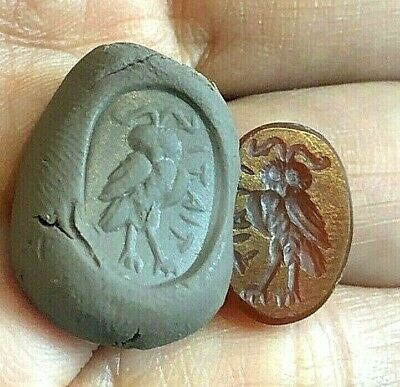 Ancient carnelian Intaglio Greek Wise Old Owl Seal Stone Roman Signet Stamp