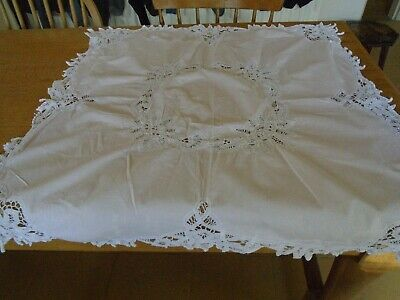 Vintage Palest Pink Cotton Tablecloth - White Tape Lace Detailing