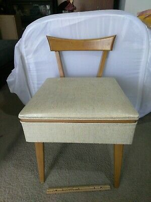 Vintage Sewing Chair With Compartment Under The Seat.