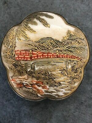 Antique Vintage Japanese Hand Painted Satsuma Belt Buckle Red Gold Bridge Water