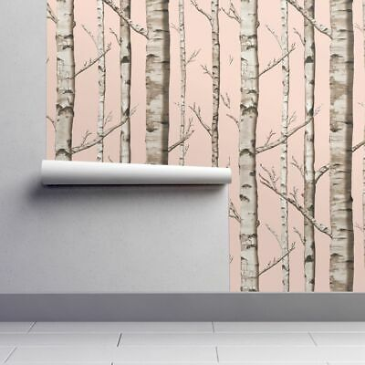 Peel-and-Stick Removable Wallpaper Birch Tree Rustic Baby Girl Nursery Grove