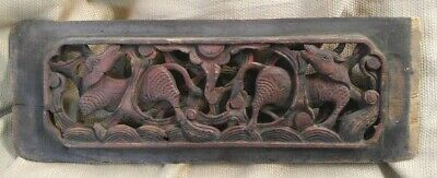 Antique Old Vintage Asian Orential Hand Carved Wooden Panel Oxen