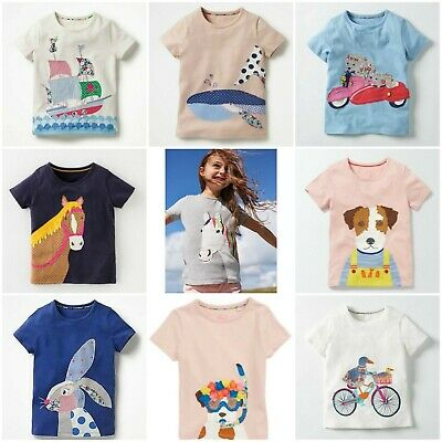 Mini Boden Girls Short Sleeve Applique Tshirts Tops