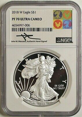 2-Coin 2018-W Proof Silver Eagle NGC PF70 FR Blk Mercanti Jones Label SKU50622