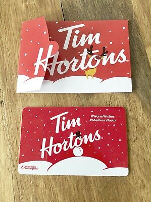 TIM HORTONS Gift Card ZERO $ Balance Snowman & Reindeer 2018 w/Holder, No Value