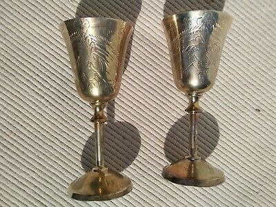 PAIR of VINTAGE SILVER PLATED LIQUEUR SPIRIT ENGRAVED GOBLETS GLASSES