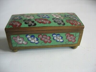 Cloisonne Brass enamel stamp box on ball feet Green ground Floral Vtg China